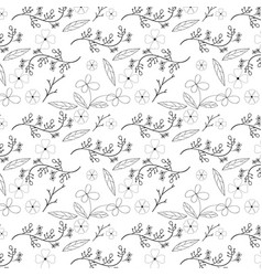 flower and vine seamless pattern design on white vector image