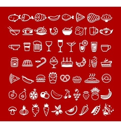 food icons red vector image