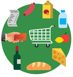 Food shopping in supermarket vector