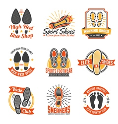 Footwear Labels With Footprints Icons Set vector