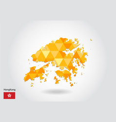 geometric polygonal style map of hong kong low vector image