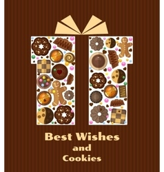 Gift box with cookies vector