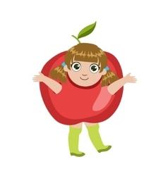 Girl Dressed As Apple vector