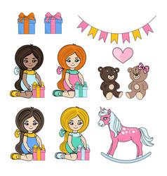 girl games children cartoon vector image
