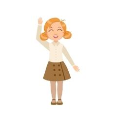Girl in brown skirt and vest happy schoolkid in vector