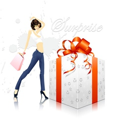 Glamour girl with gift box vector