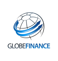 global finance in globe rotate arrow logo concept vector image