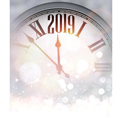 grey blurred 2019 new year background with clock vector image