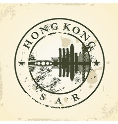 Grunge rubber stamp with Hong Kong SAR vector image