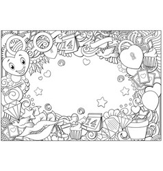 Hand drawn doodles happy valentines day frame back vector