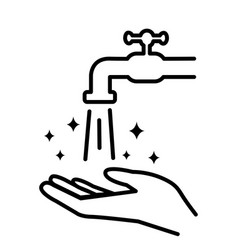 hands under falling water out tap washes vector image