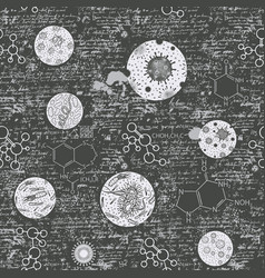handwritten seamless pattern with bacterial cells vector image