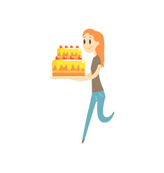 Happy redhead girl holding big festive cake vector