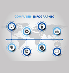 infographic design with computer icons vector image
