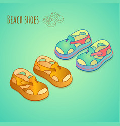 isolated shoes for children summer shoe icons se vector image