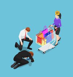Isometric businessman kneeling in front of vector