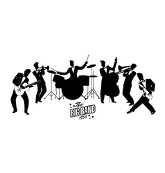 Jazz swing orchestra retro style cartoon 50s or vector