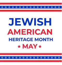Jewish-american heritage month typography poster vector