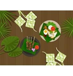 ketupat lebaran idul fitri ied food indonesia vector image