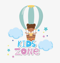 kids zone cute little girl flying in hot air vector image