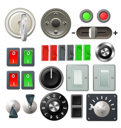 Knob switch and dial design elements vector