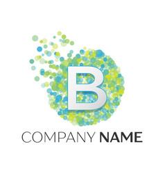 letter b logo blue green yellow particles vector image
