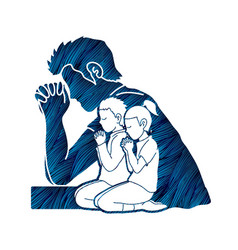 Little boy and girl prayer praise to the lord vector