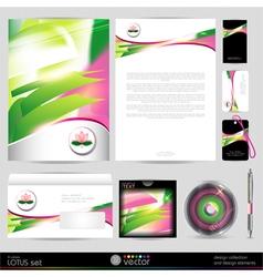 Lotus blossom template business set Design vector