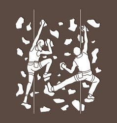 Man and woman climbing on the wall together vector