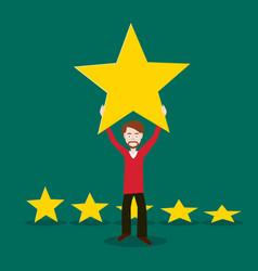 man holding gold star above head flat design vector image
