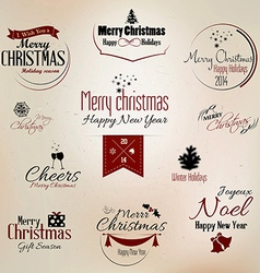 Merry christmas labels 2 vector