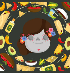 mexican catrina face with flowers and food vector image