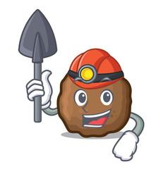 Miner meatball mascot cartoon style vector