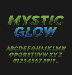 mystic glow bold italic font typeface vector image