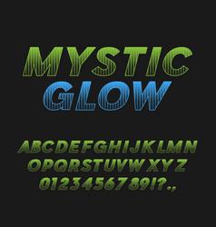Mystic glow bold italic font typeface vector