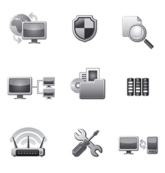Network icon set grey vector