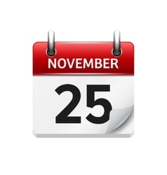 November 25 flat daily calendar icon vector