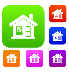 One-storey house with a chimney set collection vector