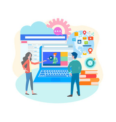 online education learning video blogging social vector image