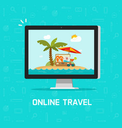 online travel via computer vector image