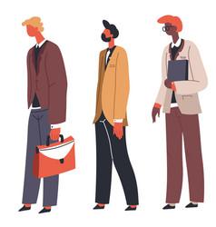 People standing in line queue characters vector