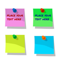 pinned paper notes labels blue pink yellow and vector image