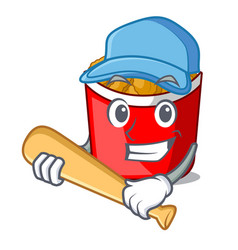 playing baseball chicken nuggets isolated with the vector image