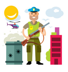Police policeman flat style colorful vector