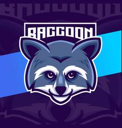 Raccoon head character logo design vector