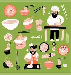 ramen doodle set various hand-drawn bowl vector image