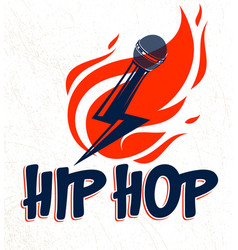 Rap music logo or emblem with microphone in a vector
