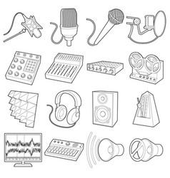 recording studio symbols icons set outline style vector image