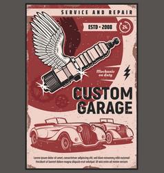 retro cars mechanic gears and spark plug vector image