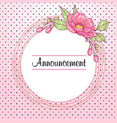 romantinc pink greeting card with flowers vector image